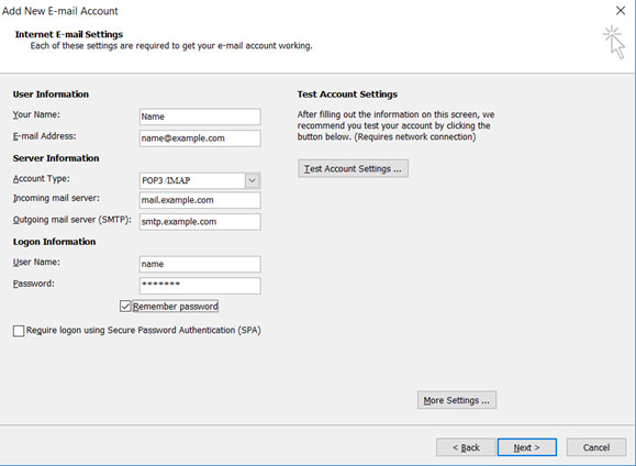 Setup email account on your Outlook 2007 Manual Step 6