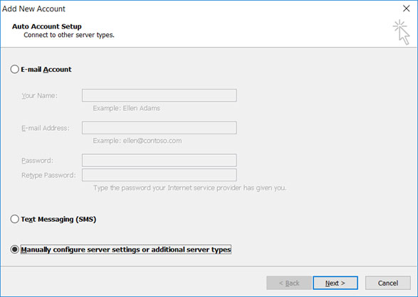 Setup email account on your Outlook 2010 Manual Step 3