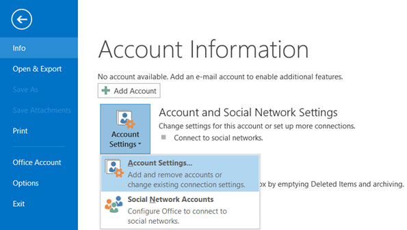 Setup email account on your Outlook 2013 Manual Step 1