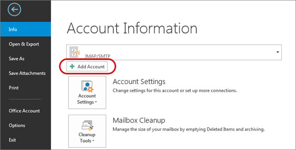 Setup email account on your Outlook 2016 Manual Step 1 - Method 2
