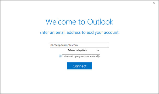 Setup email account on your Outlook 2016 Manual Step 2 - Method 2