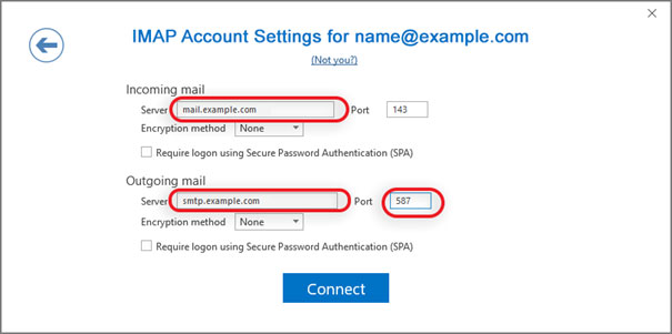 Setup email account on your Outlook 2016 Manual Step 4 - Method 2